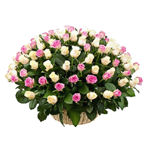 Фото товара 101 роза микс в корзине (кремовая и розовая) в Мариуполе