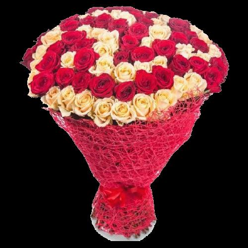 Фото товара 101 красно-кремовая роза в Мариуполе