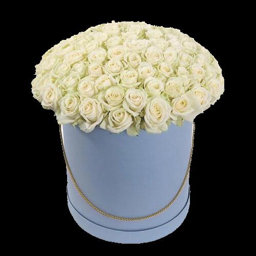 Фото товара 101 белая роза в шляпной коробке в Мариуполе