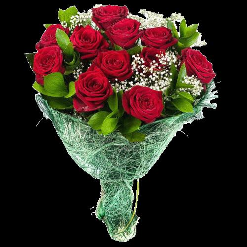 Фото товара 11 красных роз с зеленью в Мариуполе