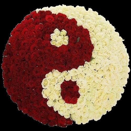 """Фото товара 201 роза """"Инь-Ян"""" в корзине в Мариуполе"""