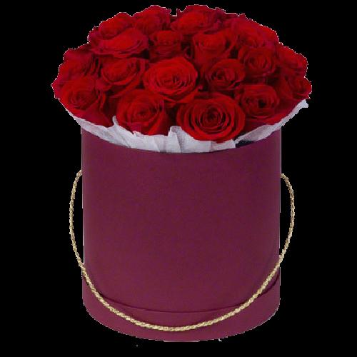Фото товара 21 красная роза в шляпной коробке в Мариуполе