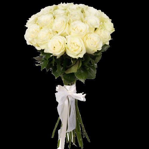 Фото товара 21 белая роза в Мариуполе