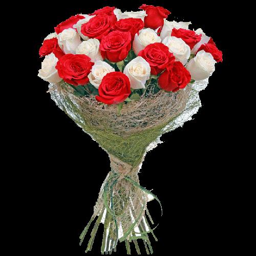 Фото товара 33 красно-белые розы в Мариуполе