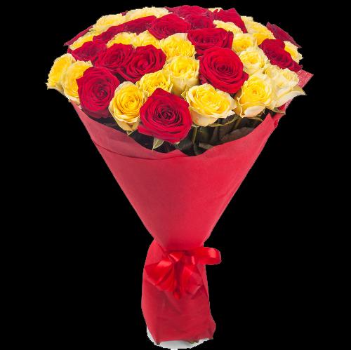 Фото товара 33 красно-желтые розы в Мариуполе