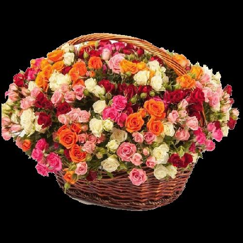Фото товара 51 кустовая роза микс в корзине в Мариуполе