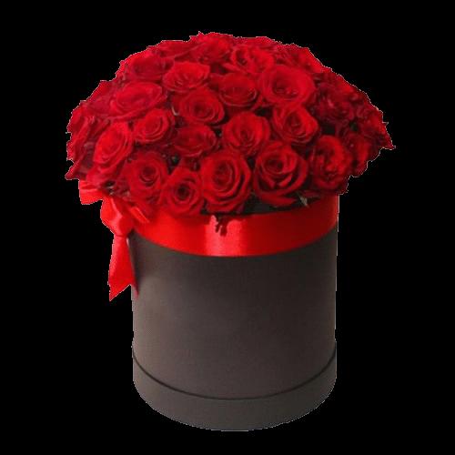 Фото товара 51 красная роза в шляпной коробке в Мариуполе