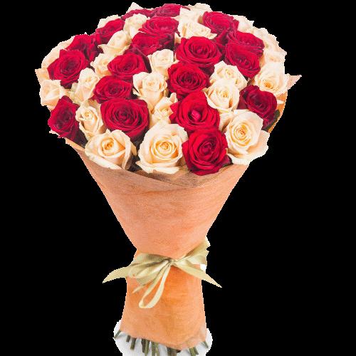Фото товара 51 красно-кремовая роза в Мариуполе
