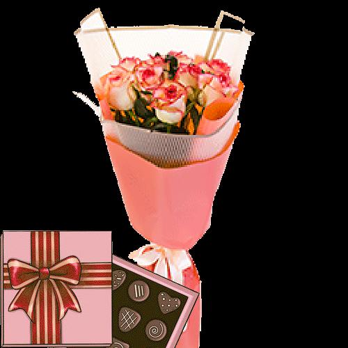 """Фото товара 7 роз """"Джумилия"""" с конфетами в Мариуполе"""