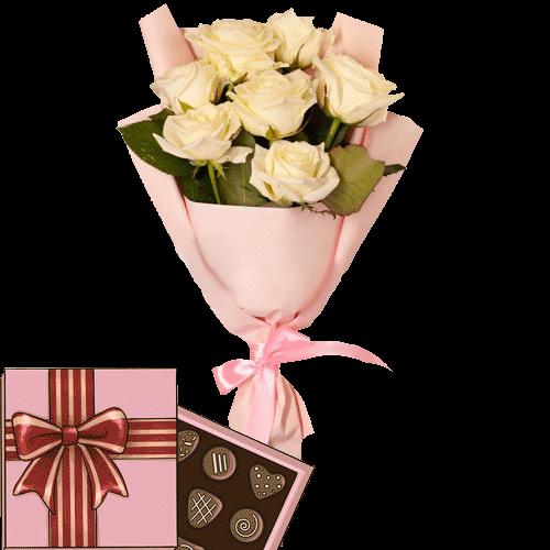 Фото товара 7 кремовых роз с конфетами в Мариуполе