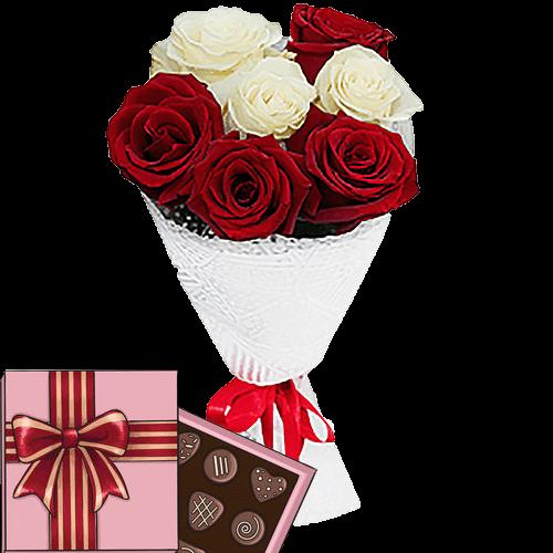 Фото товара 7 роз микс с конфетами в Мариуполе