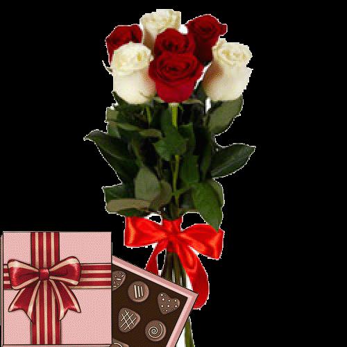 Фото товара 7 красно-белых роз с конфетами в Мариуполе