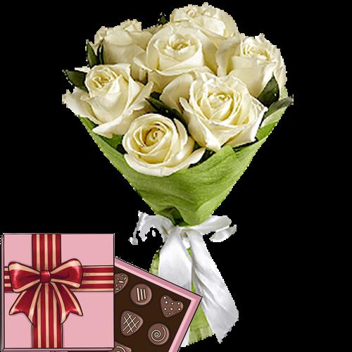 Фото товара 7 белых роз с конфетами в Мариуполе