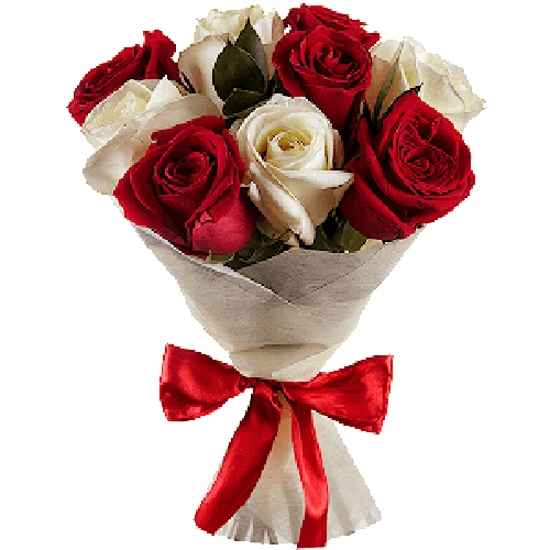 Фото товара 9 красно-белых роз в Мариуполе