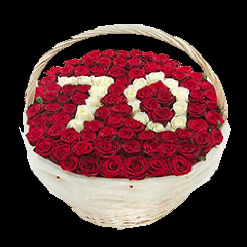 Фото товара 101 роза с цифрами в корзине в Мариуполе