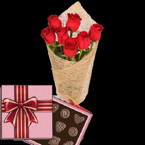 Фото товара 7 красных роз с конфетами в Мариуполе