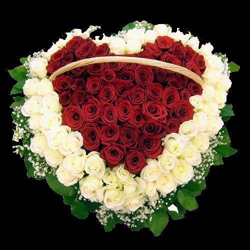 Фото товара 101 роза сердцем в корзине в Мариуполе