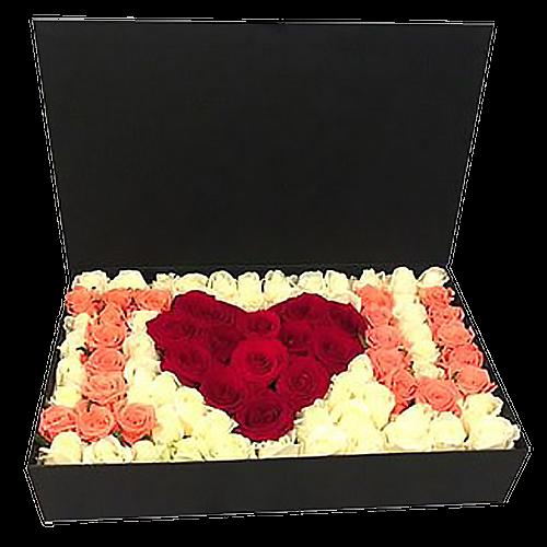 """Фото товара 101 роза в коробке """"I love you"""" в Мариуполе"""