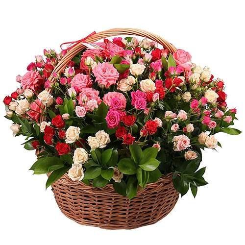 Фото товара 101 кустовая роза  в корзине в Мариуполе