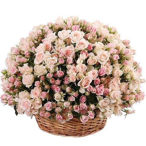 Фото товара 201 кустовая роза  в корзине в Мариуполе
