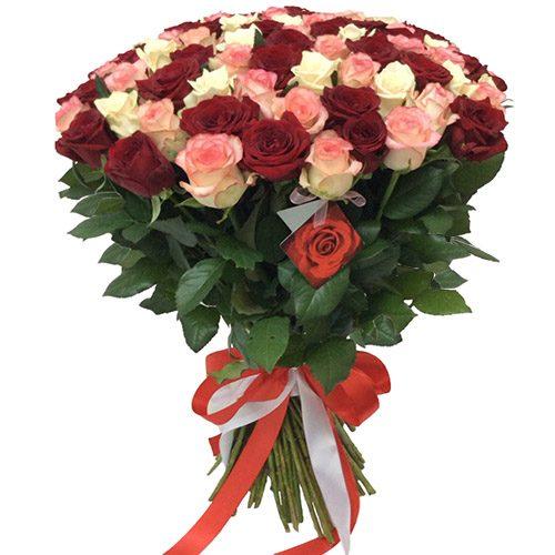 """Фото товара 101 роза """"Розовый жемчуг"""" в Мариуполе"""